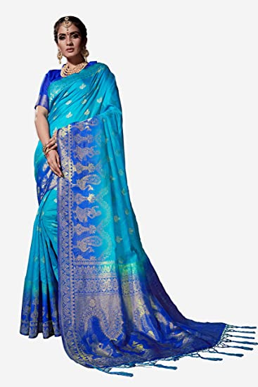 85728b4586053d Trendzvila Women s Cotton Silk Banarasi Saree With Blouse Piece  (Tr-En-109 Sky Blue)  Amazon.in  Clothing   Accessories