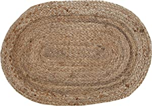 Chardin home Oval Woven Jute Braided PLACEMAT (Set of 4), Color - Natural Jute. (13''x19'')