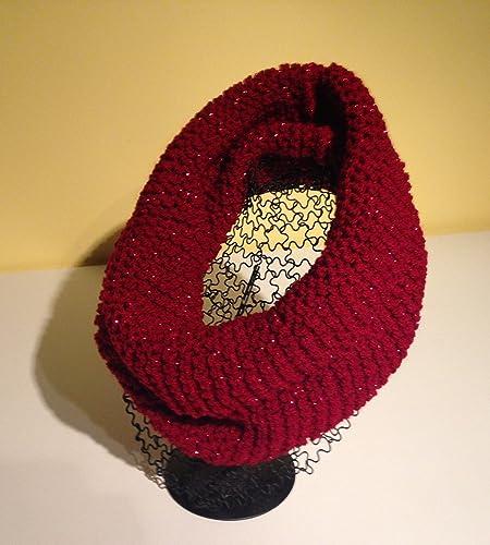 Écharpe- snood- Tour de cou pour femme rouge avec paillettes  Amazon ... 6099dc4123c