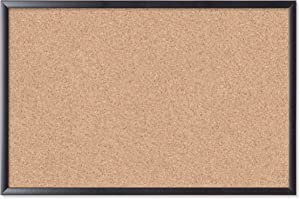 "U Brands Cork Bulletin Board, 35""x23"" (301U00-01) - Black Wood Frame"