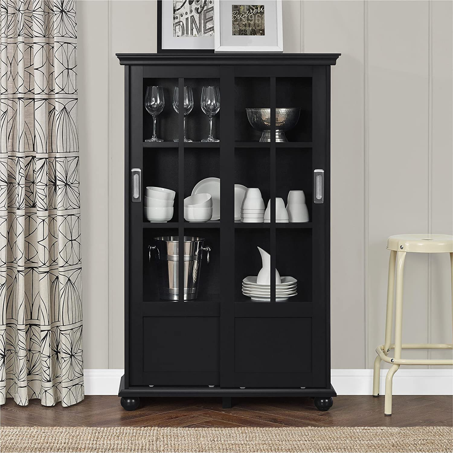 Amazon: Altra Furniture Altra Aaron Lane Bookcase With Sliding Glass  Doors, Black: Kitchen & Dining