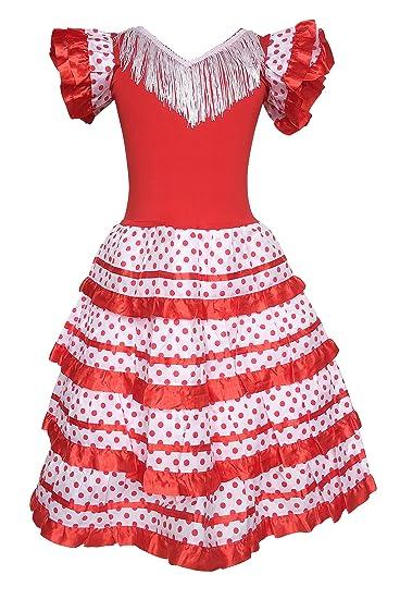 e3e0747d8 Amazon.com: La Senorita Spanish Flamenco Dress Princess Fancy Dress Costume  Girls/Kids Red White: Clothing