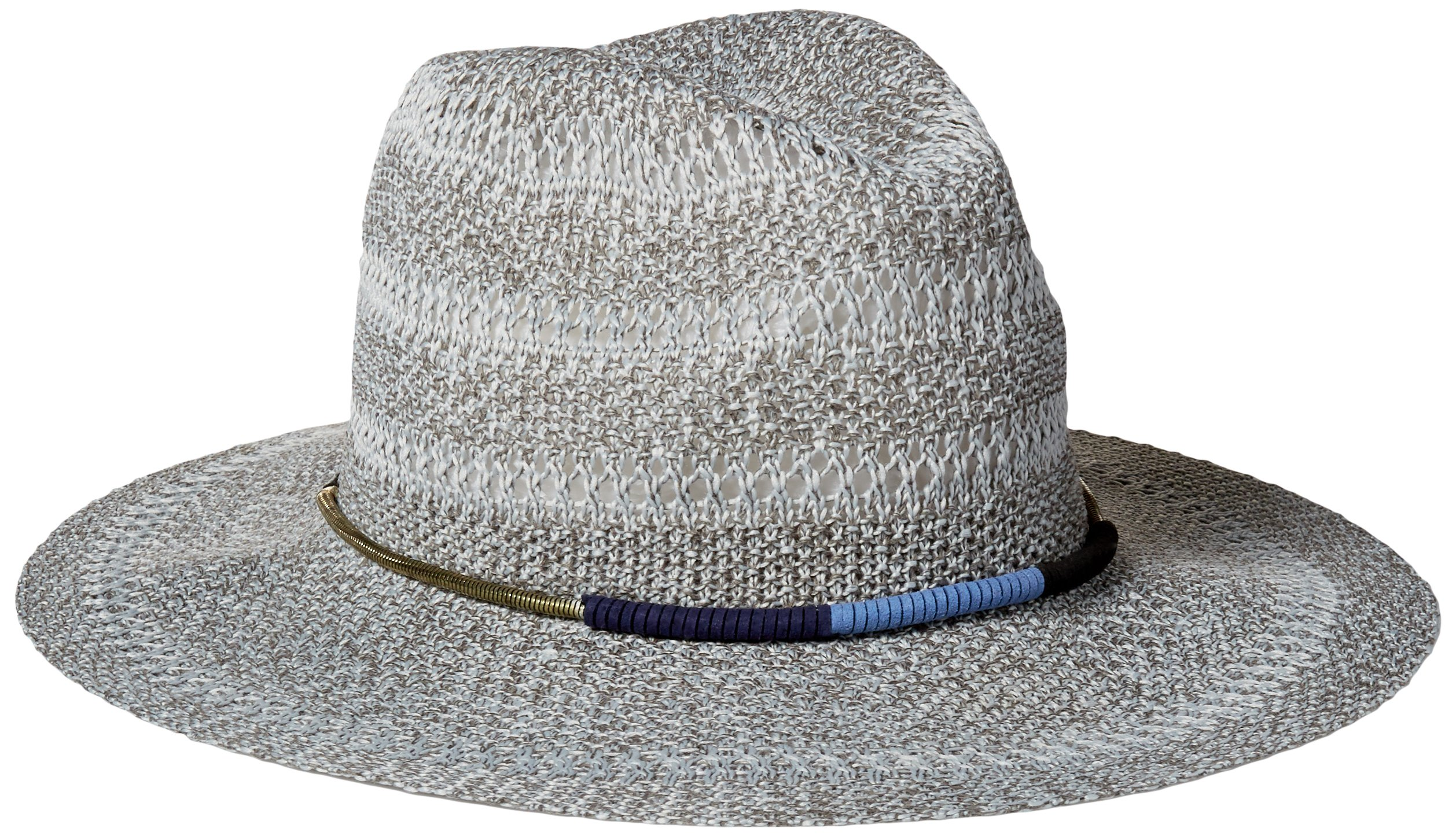 San Diego Hat Company Women's Knitted Panama Fedora Hat with Gold Cord Trim, Grey, One Size