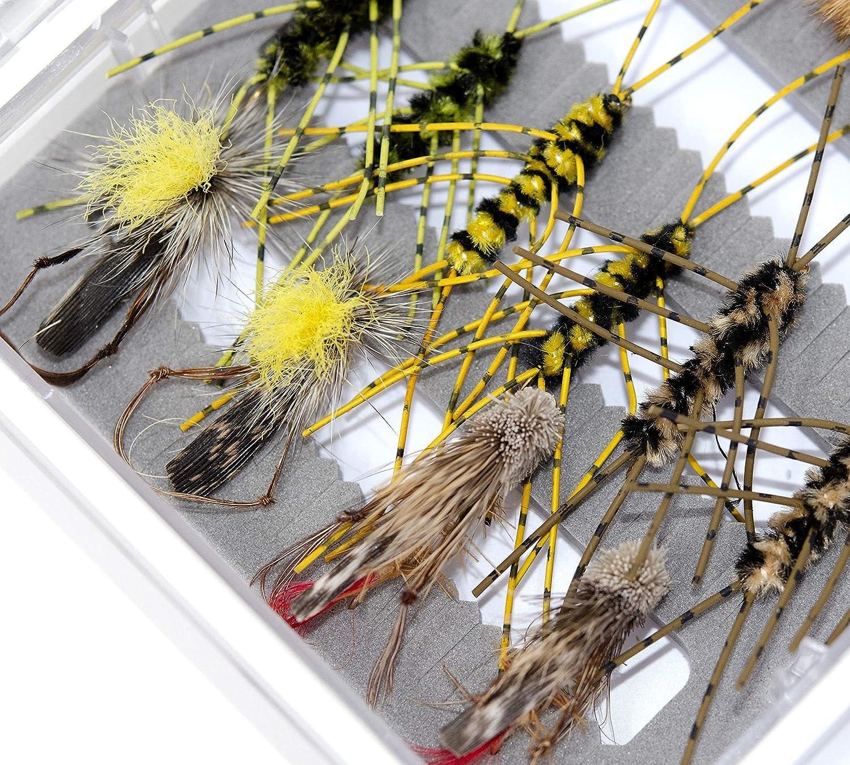 Dry Flies Waterproof Fly Fishing Box 36 Essential Trout Fly Fishing Flies Kit Hopper Flies Nymphs Flies