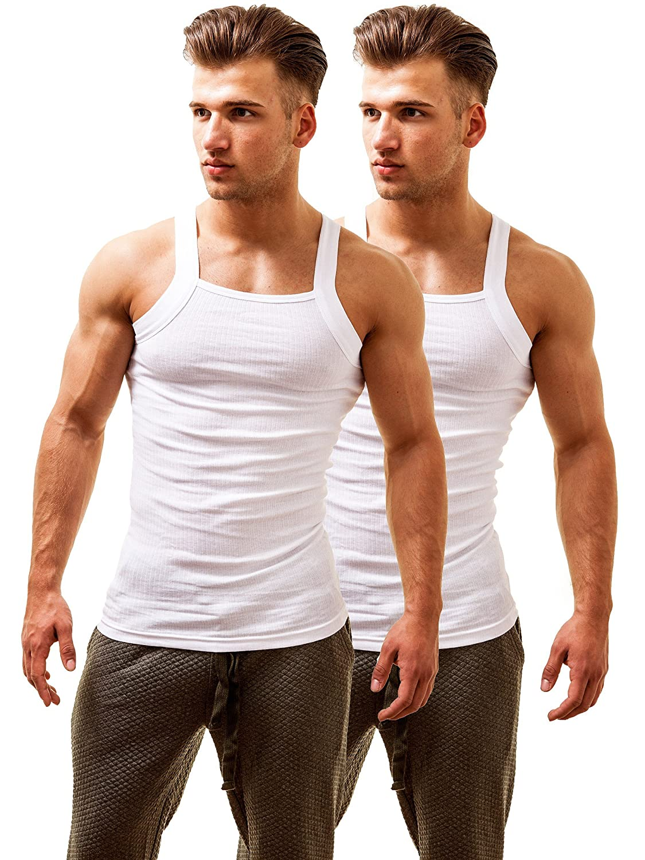 2(x)ist Herren 2 Pack Square Cut Tank Tops Fitness Trägershirt Trainingsshirt Unterhemd