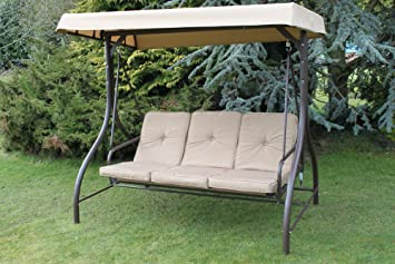 Luxury Heavy Duty Garden 3 Seater Swing Seat Hammock Bed Complete With  Thick Cushions