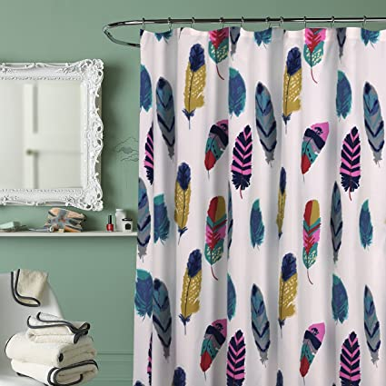 DID 1 Piece Ivory Yellow Teal Blue Dreamcatcher Shower Curtain Colorful Feathered Bathtub Decor Dream