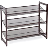 SONGMICS 3-Tier Stackable Metal Shoe Rack Flat & Slant Adjustable Shoe Organizer Shelf for Closet Bedroom & Entryway Bronze ULMR03A