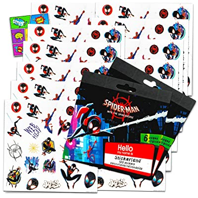 Spiderman Homcoming Stickers Party Favors Bundle of 12 Spiderman Sticker Sheets and 2 GWW Specialty Reward Stickers: Toys & Games
