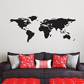Wall Design Decals family name with established year World Map Decal Large Easy To Apply Vinyl Wall Decor Black Removable Earth