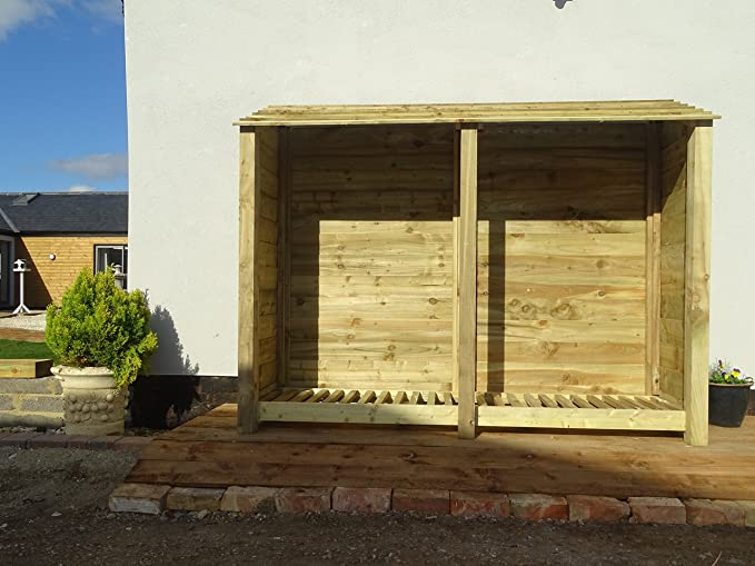 De madera extra grande doble bahía pino Log Store - 6 ft - Luz Verde - hecho a mano al aire libre cobertizo de almacenamiento de leña de madera tratada a ...