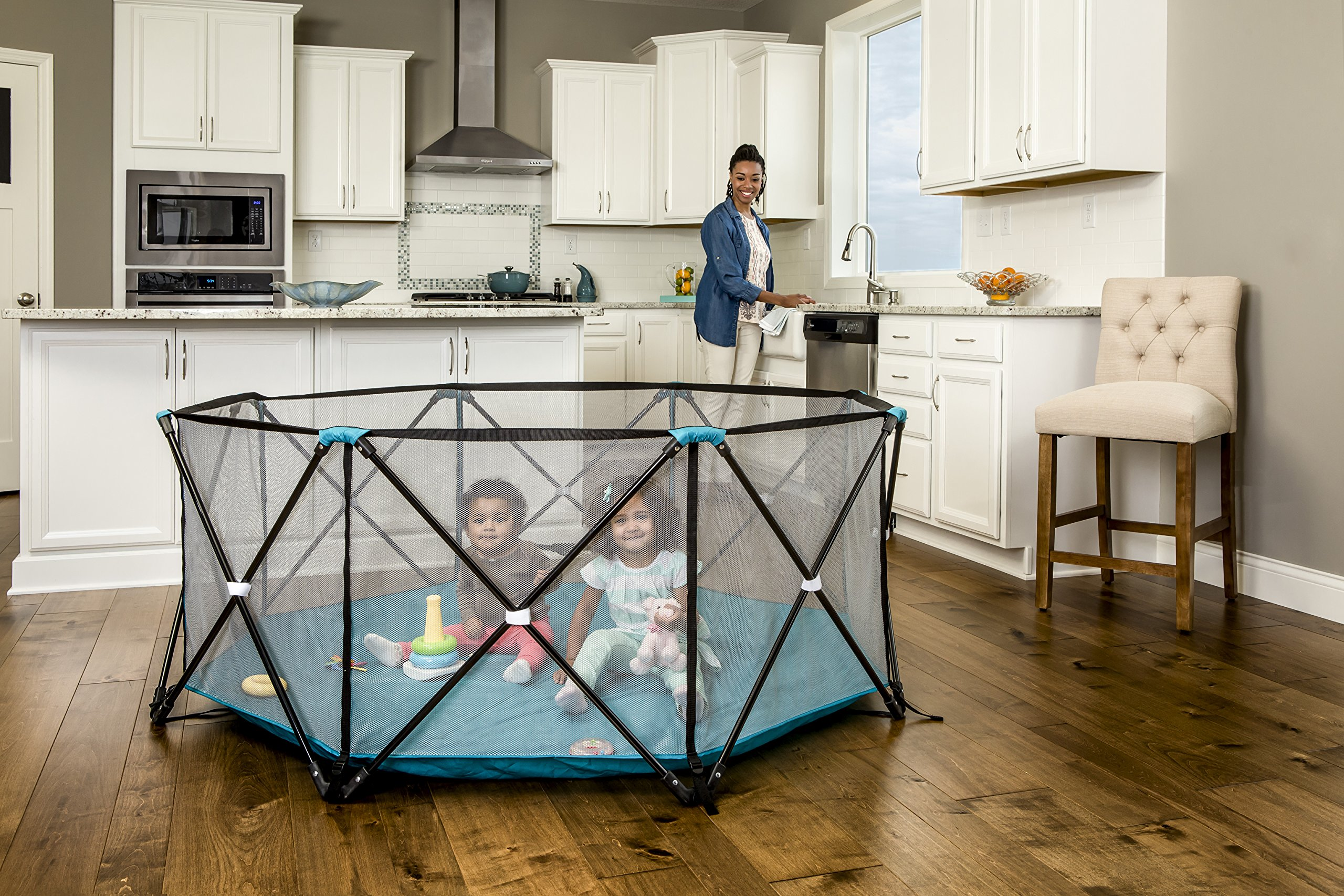 Regalo My Play Portable Playard Indoor and Outdoor with Carry Case and Adjustable/Washable, Teal, 8-Panel by Regalo