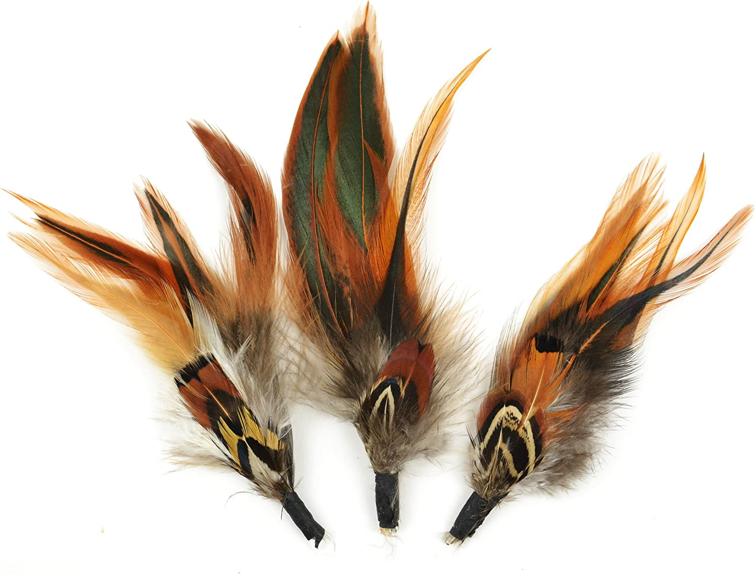 Touch of Nature 3-Piece Natural Feather Pick with Nylon Loop for Arts and Crafts, 4.5-Inch, Ringneck Pheasant