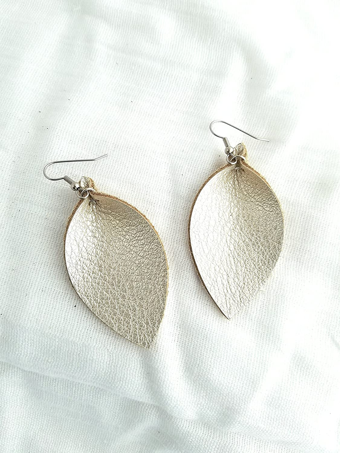 Champagne Metallic/Leather Earrings/FREE SHIPPING/Joanna Gaines/Magnolia Market/Zia/Leaf/2.5x1.25/Hypoallergenic/Spring