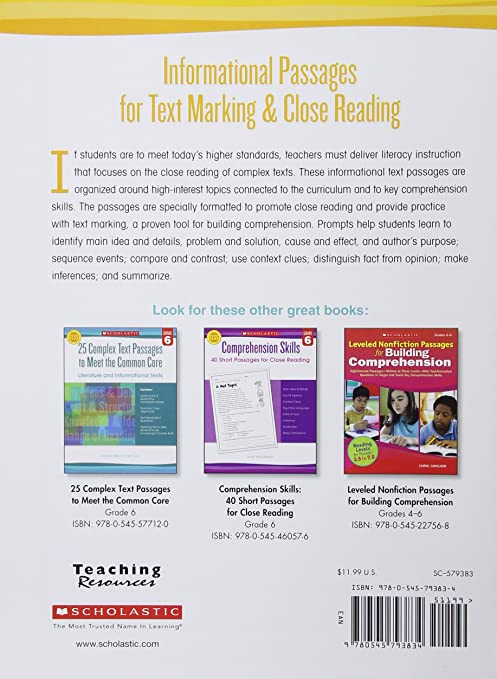 Workbook free high school reading comprehension worksheets : Informational Passages for Text Marking & Close Reading: Grade 3 ...