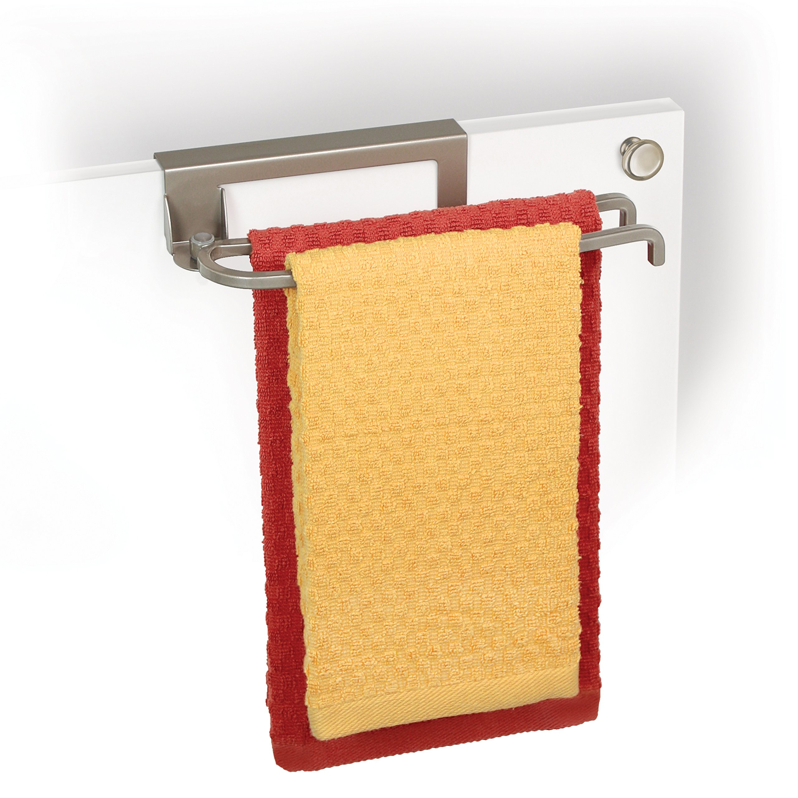 Lynk 611710 Over Cabinet Door Organizer Pivoting Towel Bars, Satin-Nickel