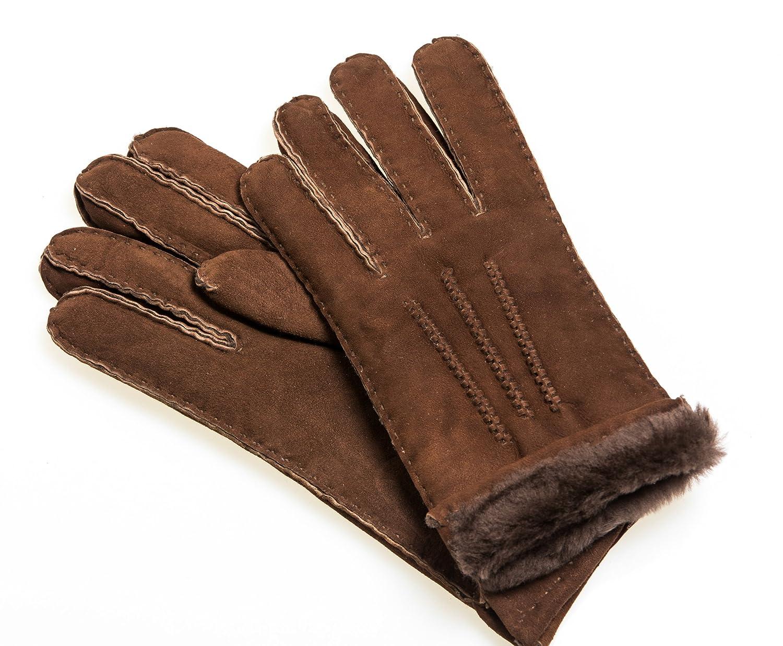 Unisex Handschuhe aus reinem Lammfell handgen/äht braun