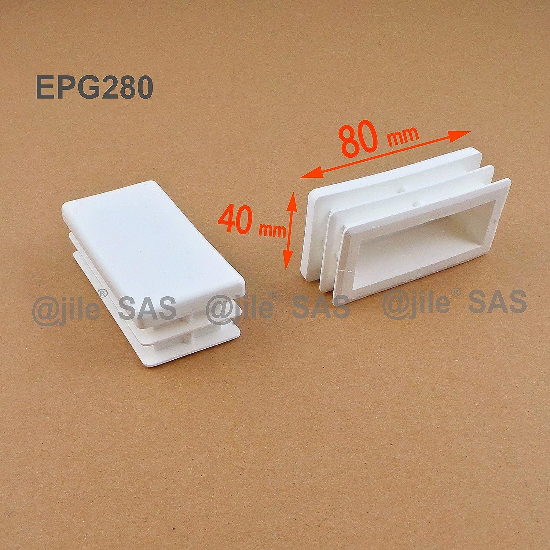 Embout /à lamelles rectangulaire pour tubes 80 x 40 mm ajile 4 pi/èces EPG280-M BLANC