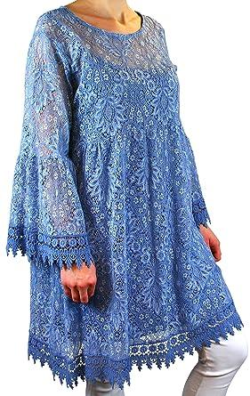 df1076c87f4938 Charleselie94® - Robe Tunique Grande Taille Dentelle bohème Bleu ...