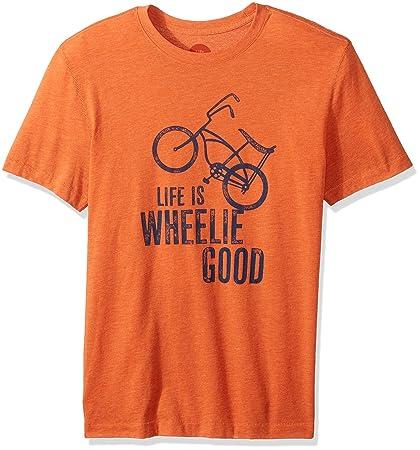 31aa0b62c34 Amazon.com  Life is Good Men s Wheelie Good Bike Cool Tee  Sports ...