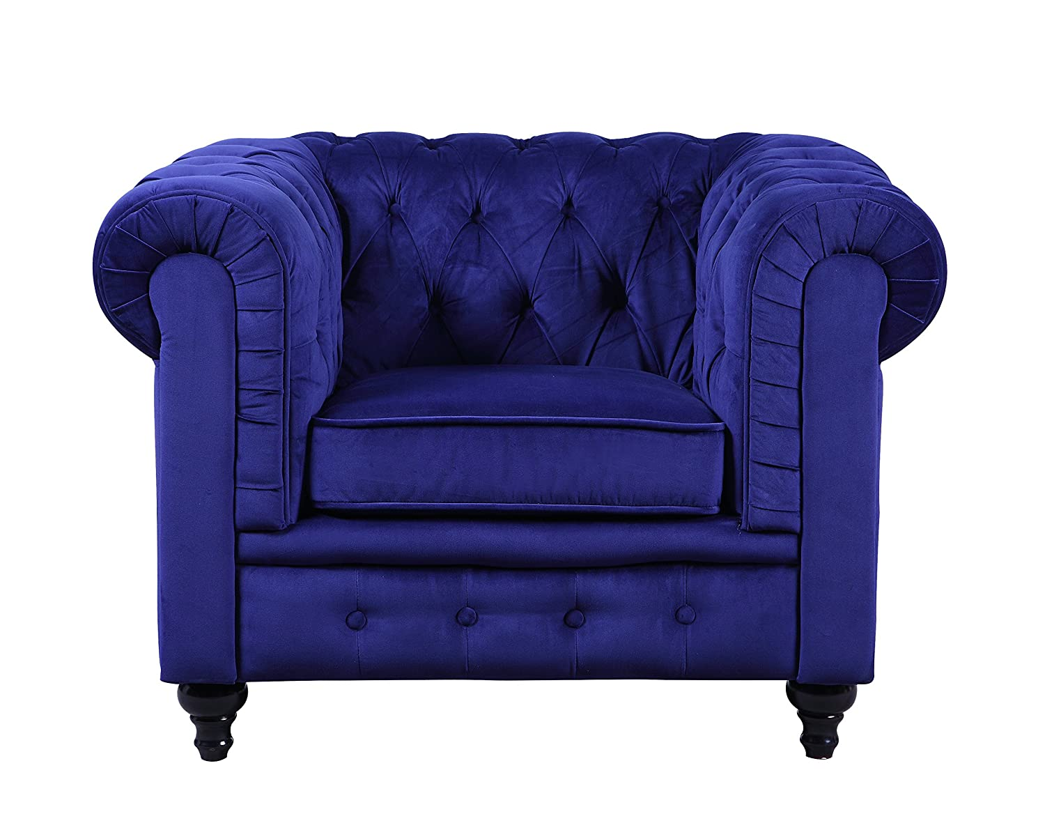 Amazon com  Classic Scroll Arm Large Velvet Living room Accent Chair Navy Blue Kitchen Dining