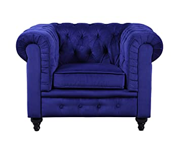 Amazon.com: Classic Scroll Arm Large Velvet Living room Accent Chair ...