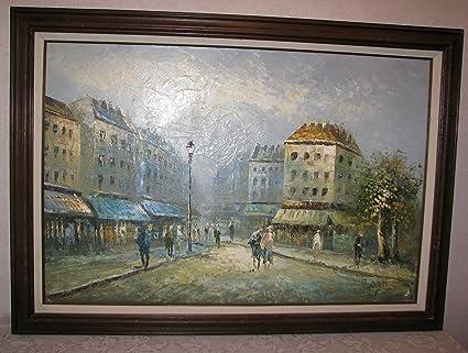 Caroline Burnett Oil on Canvas Framed Paris Beauty Street