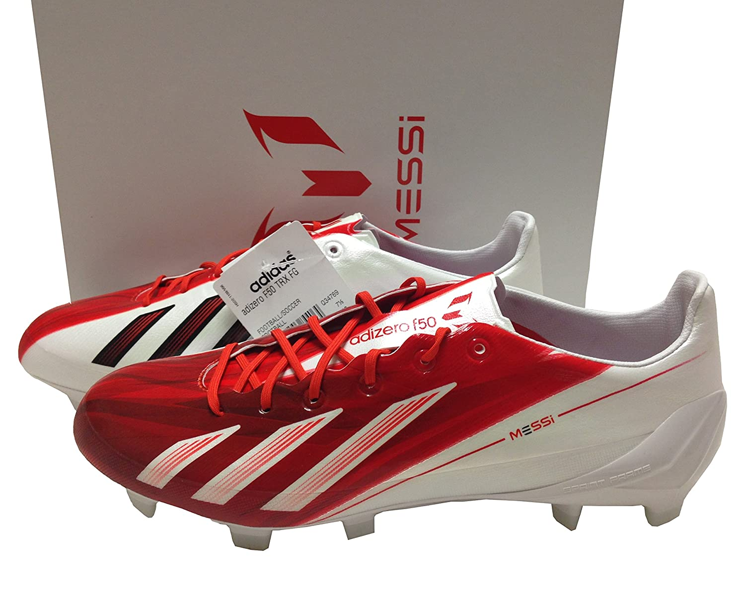 best service e1dbb 8c3c8 Adidas F50 Messi TRX FG White Red Size 7.5 Leather Soccer Cleats Football  Boots GAA Gaelic Rugby  Amazon.co.uk  Sports   Outdoors