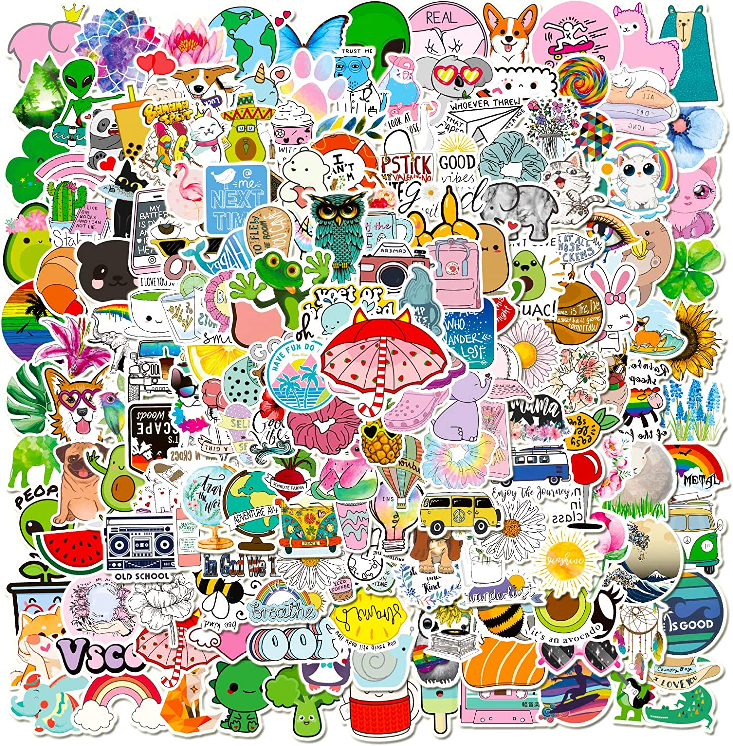 200 PCS Cute Stickers Pack, Vinyl Waterproof Stickers for Laptop,Skateboard,Water Bottles,Computer,Phone,Guitar,VSCO Stickers for Adult, Perfect for Gift