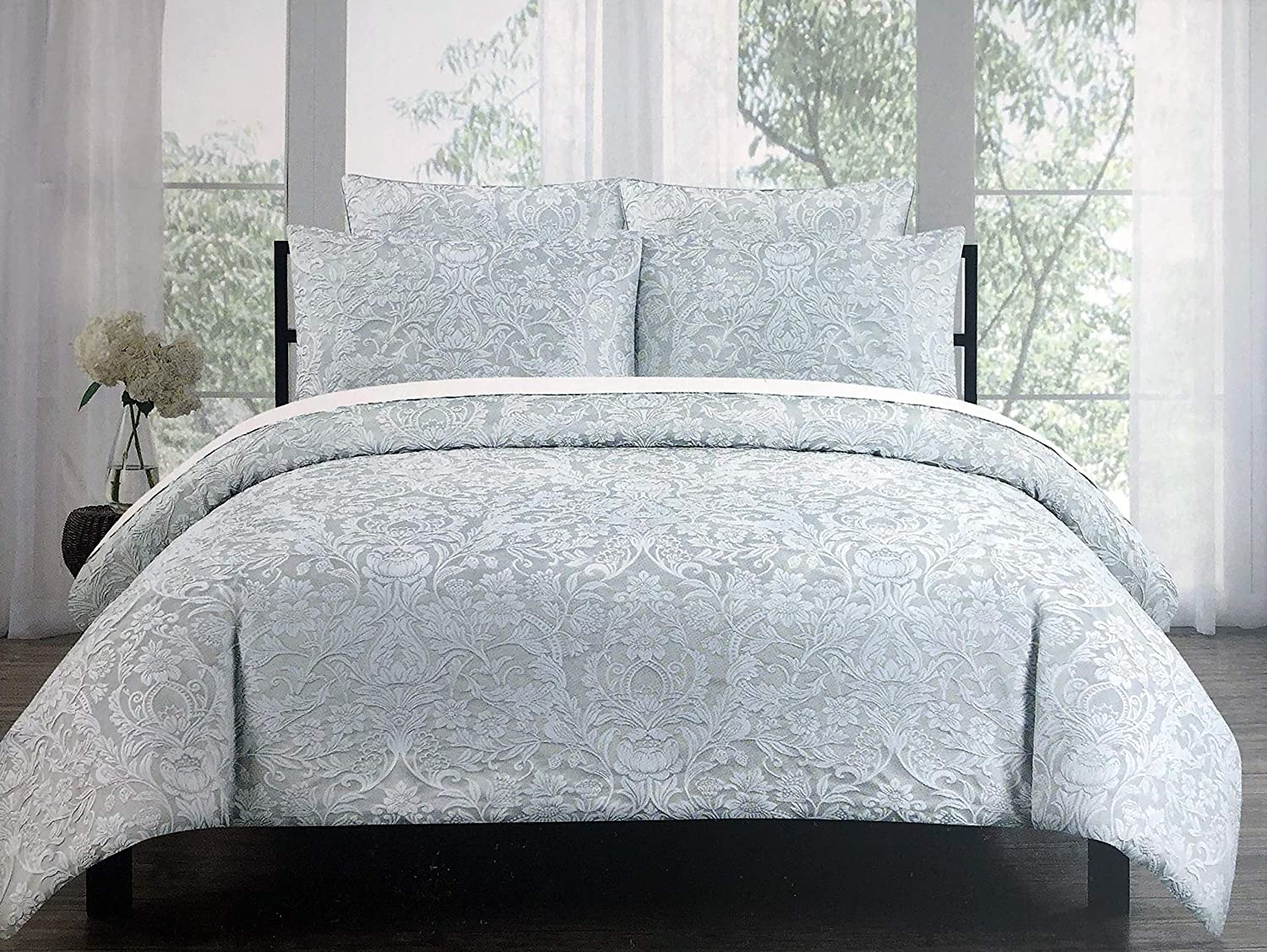 Tahari Home 3pc Duvet Cover Set Raised Embroidered Floral Damask Pattern Birds in White Thread on Light Gray - Charleston (King)