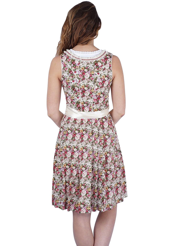 Marjo Dirndl Taluna creme grün rosa 55er Länge florales Blümchen Muster  knielang: Amazon.de: Bekleidung