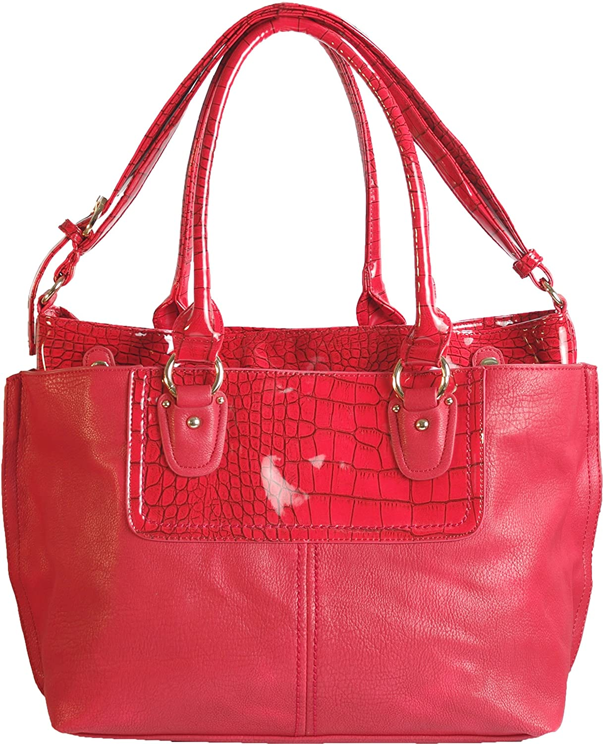 Authentic Arcadia Crocodile Two Bags In One: Tote Handbag with Matching Wallet Set: GN5688-RD&GNW8099-RD