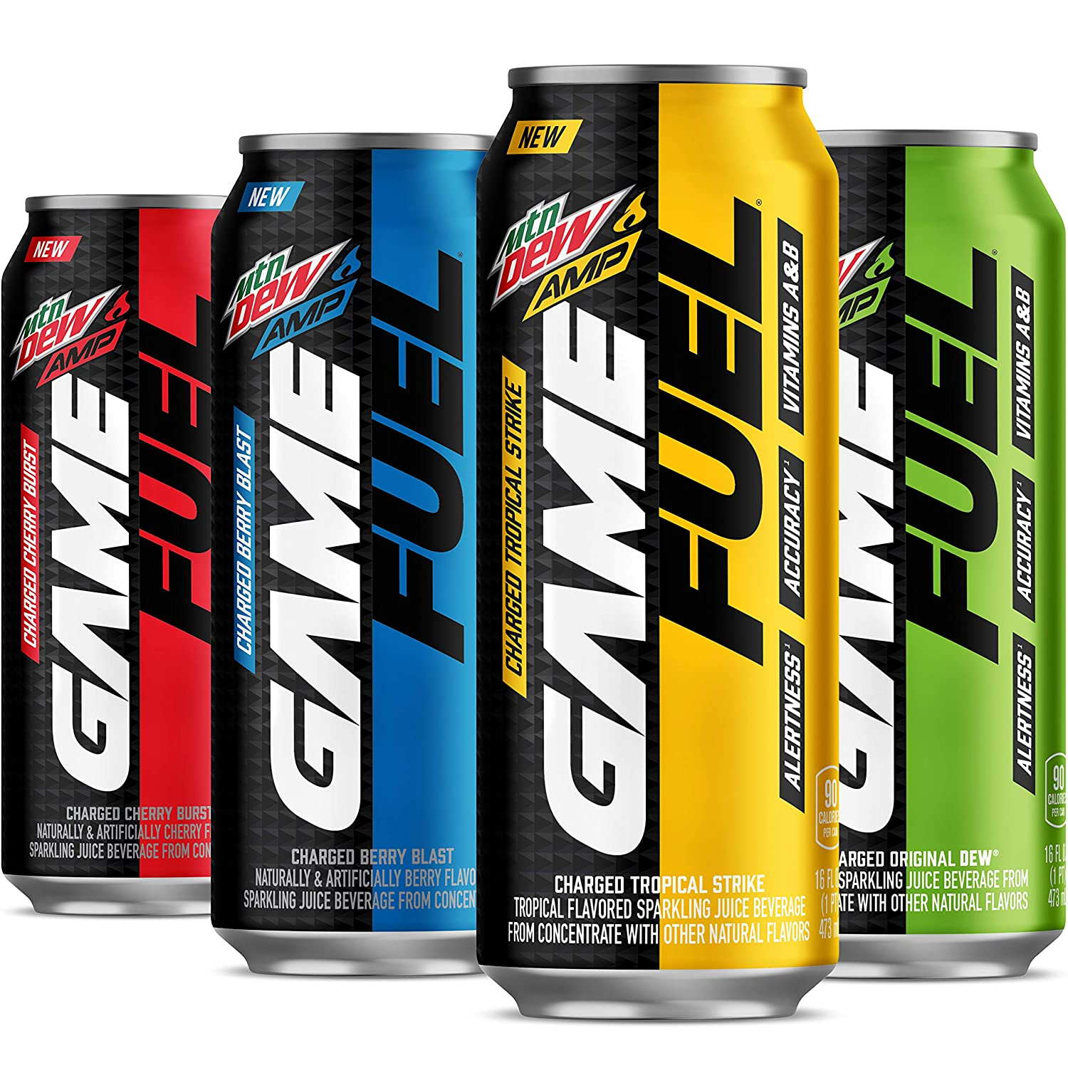 Mountain Dew AMP GAME FUEL, 4 Flavor Variety Pack, 16 fl oz  cans (12 Pack)