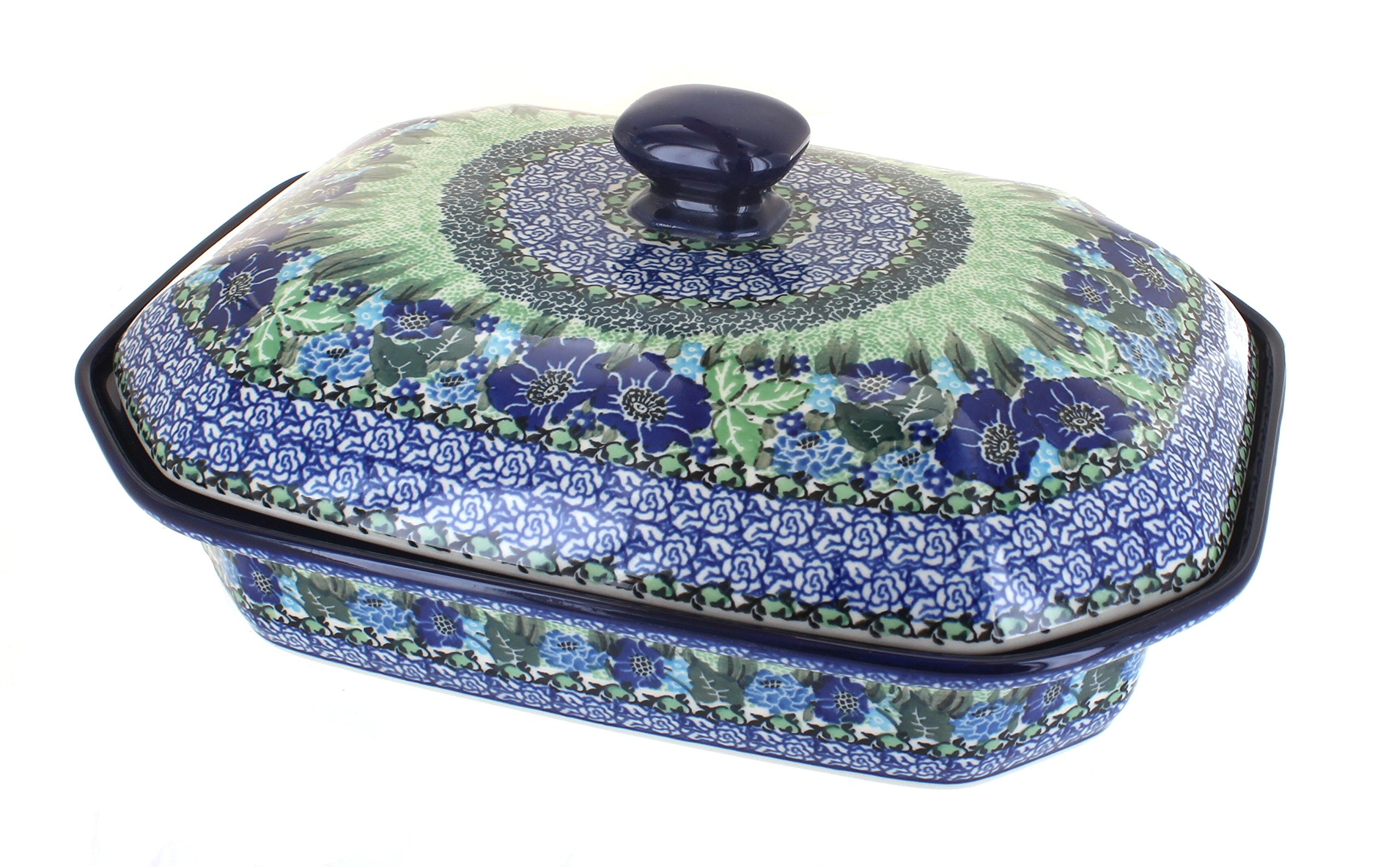 Polish Pottery Sapphire Fields Large Covered Baking Dish