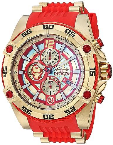Invicta Marvel 52 mm Perno Viper Limited Ed Iron Man Cronógrafo Esfera Roja Reloj: Amazon.es: Relojes