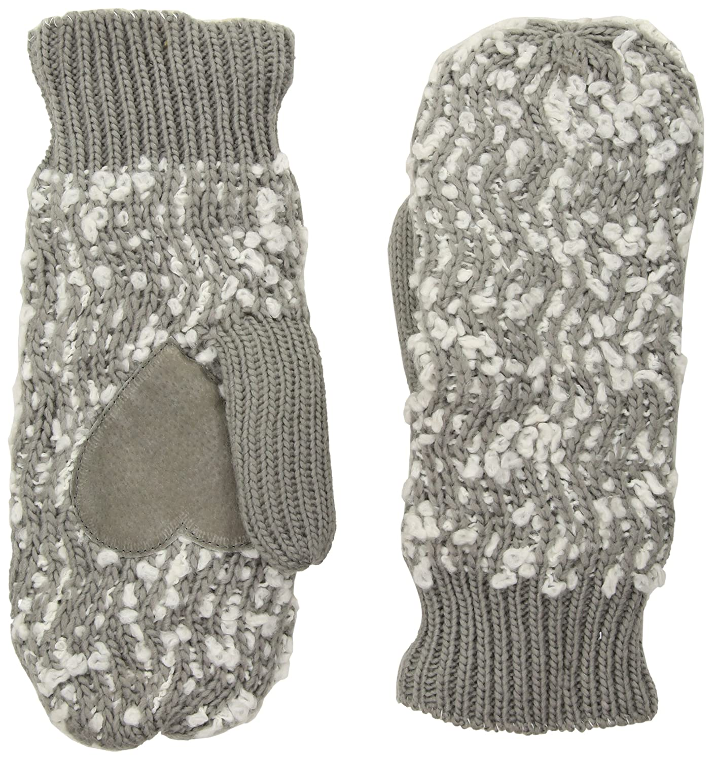 Isotoner Women/'s Chunky Cable Knit SherpaSoft Mittens