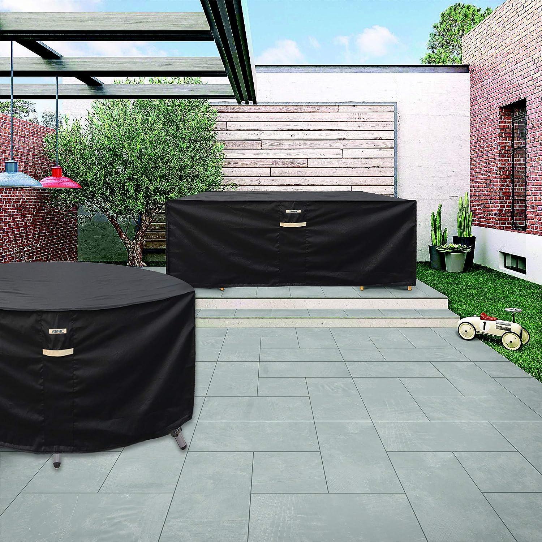 AWNIC Copritavolo Rotondo Esterno Copertura per Mobili da Giardino Impermeabile Resistente 420D Oxford /Ø130*71cm