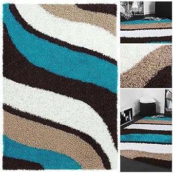 Teppich türkis braun  Exklusiver Hochflor Design Shaggy mit Wellen Muster in Braun Beige ...