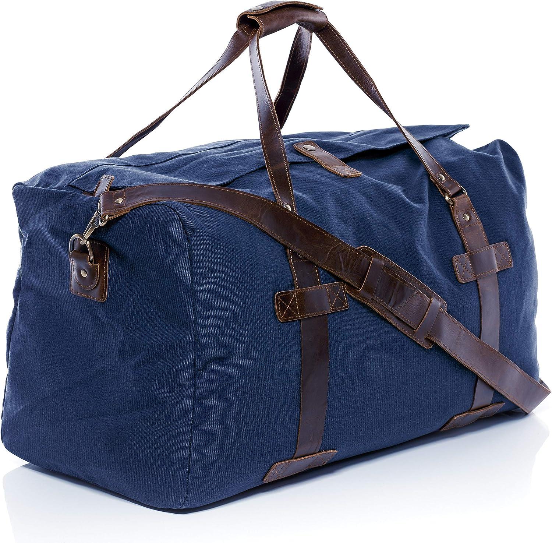 SID /& VAIN Sac de Voyage Cuir v/éritable Chase fourre-Tout Besace Week-End 65 cm XL Grand Sac Sport Bagages Cabine /à Main Bleu