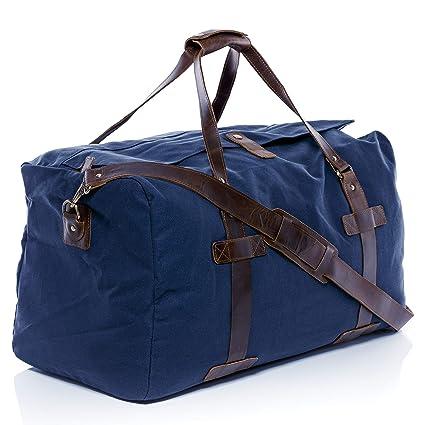 SID & VAIN® borsa da viaggio vera pelle CHASE grande XL borsa da weekend 68 l borsone uomo donna cuoio blu