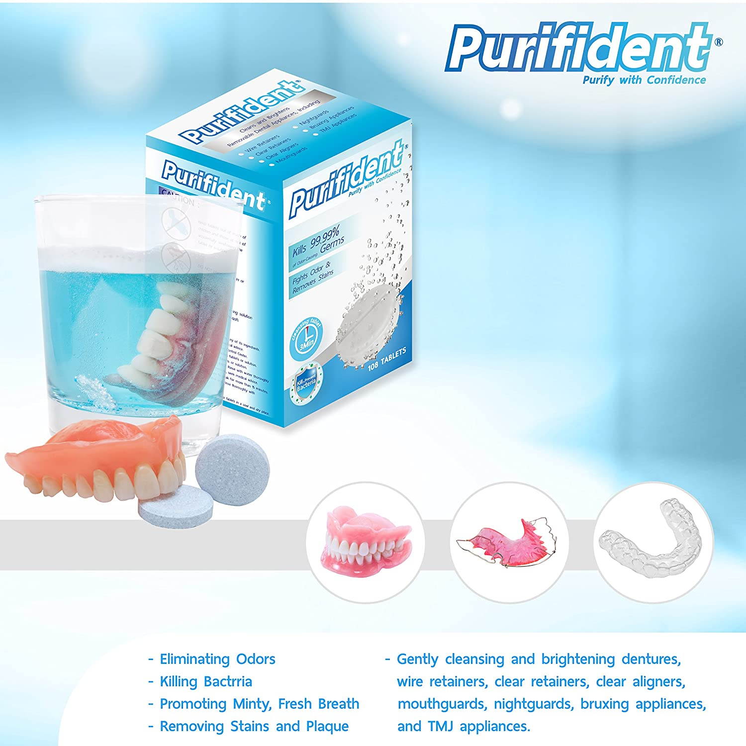 Amazon.com: Purifident - 108 Dental Appliance Cleansing Tablets - 3 ...
