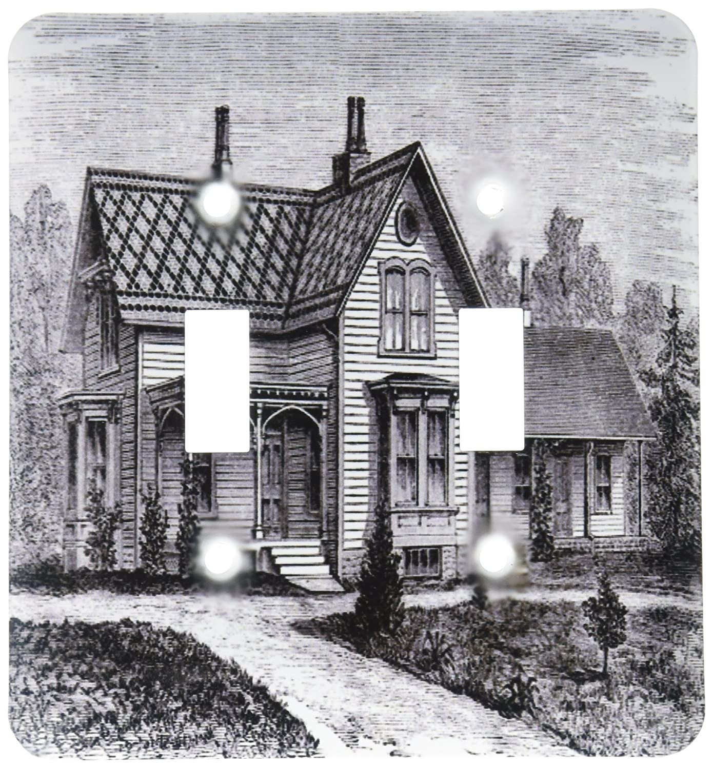 3dRose lsp/_203713/_2Print of Country Farmhouse In Black And White Double Toggle Switch Multicolor