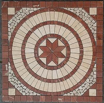 Antikmarmor Rosone 67x67 cm Windrose Mosaik Einleger Rot Creme Rosso Verona 055