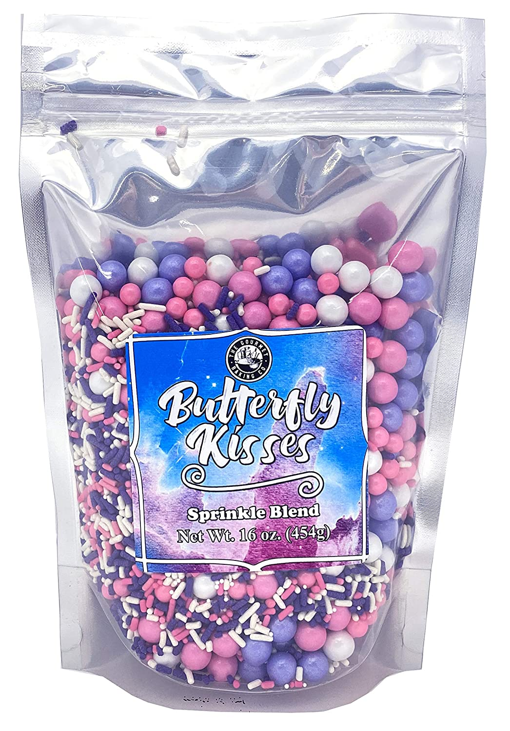 The Gourmet Baking Company Butterfly Kisses Sprinkles – 1 Pound Bulk Purple and Pink Sprinkles – Fancy Sprinkles