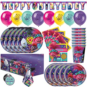 Trolls Birthday Party Supplies & Decorations Featuring Poppy, Queen Barb & Branch from World Tour Movie, With Table Cover, Happy Birthday Banner Decor, Balloons, Plates & More
