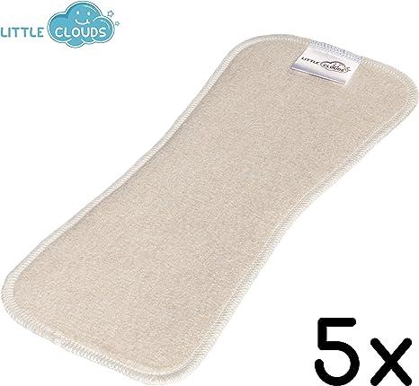 Little Clouds - Compresas para pañales (algodón orgánico, 5 unidades, 27 x 10 cm), diseño de bambú y cáñamo Adecuado para todos los pañales de tela.: Amazon.es: Bebé