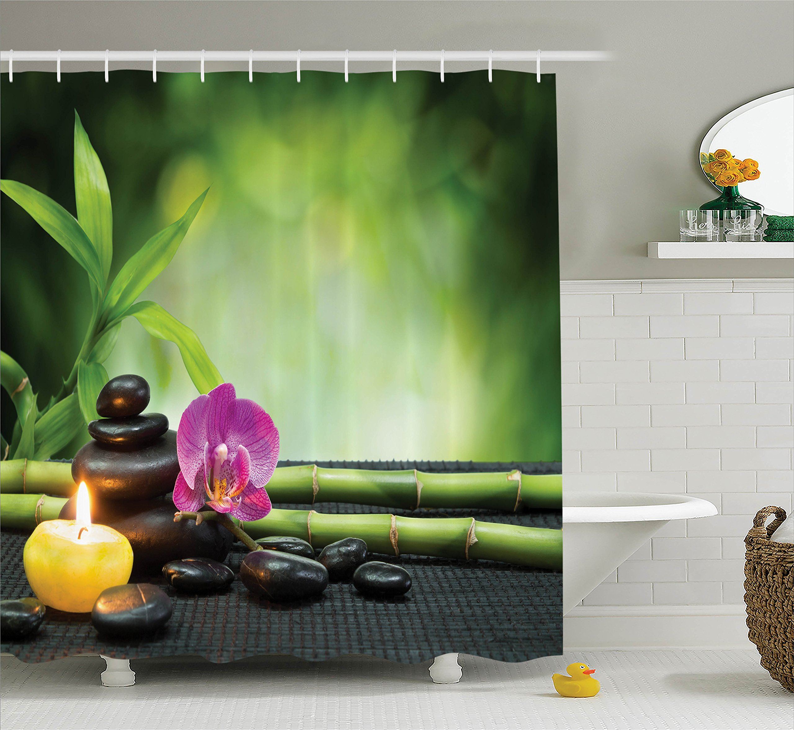 Ambesonne Spa Decor Shower Curtain Set, Orchid Bamboo Stems Chakra Stones Japanese Alternative Feng Shui Elements Therapy Design, Bathroom Accessories, 69 W X 70 L Inches, Green Black