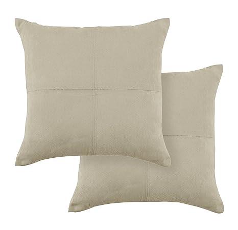 PimpamTex Cojines para decoración de sofá, salón o Dormitorio. Pack de 2 Unidades. Modelo Ante (45x45 cm) (Arena)