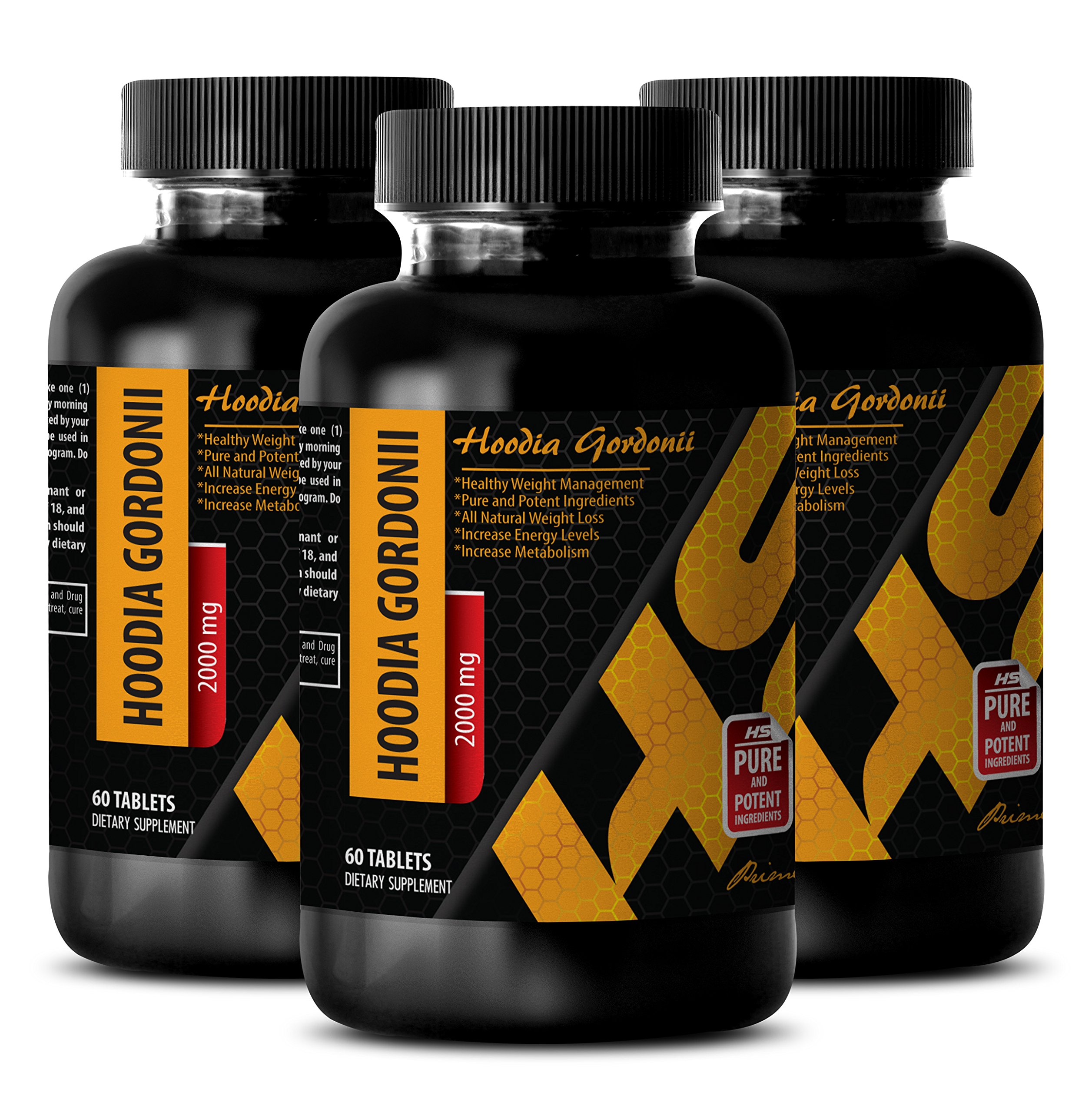 Metabolism boost appetite suppress digest help - PURE HOODIA GORDONII EXTRACT 2000 Mg - Lose weight fast for men - 3 Bottle 180 Tablets