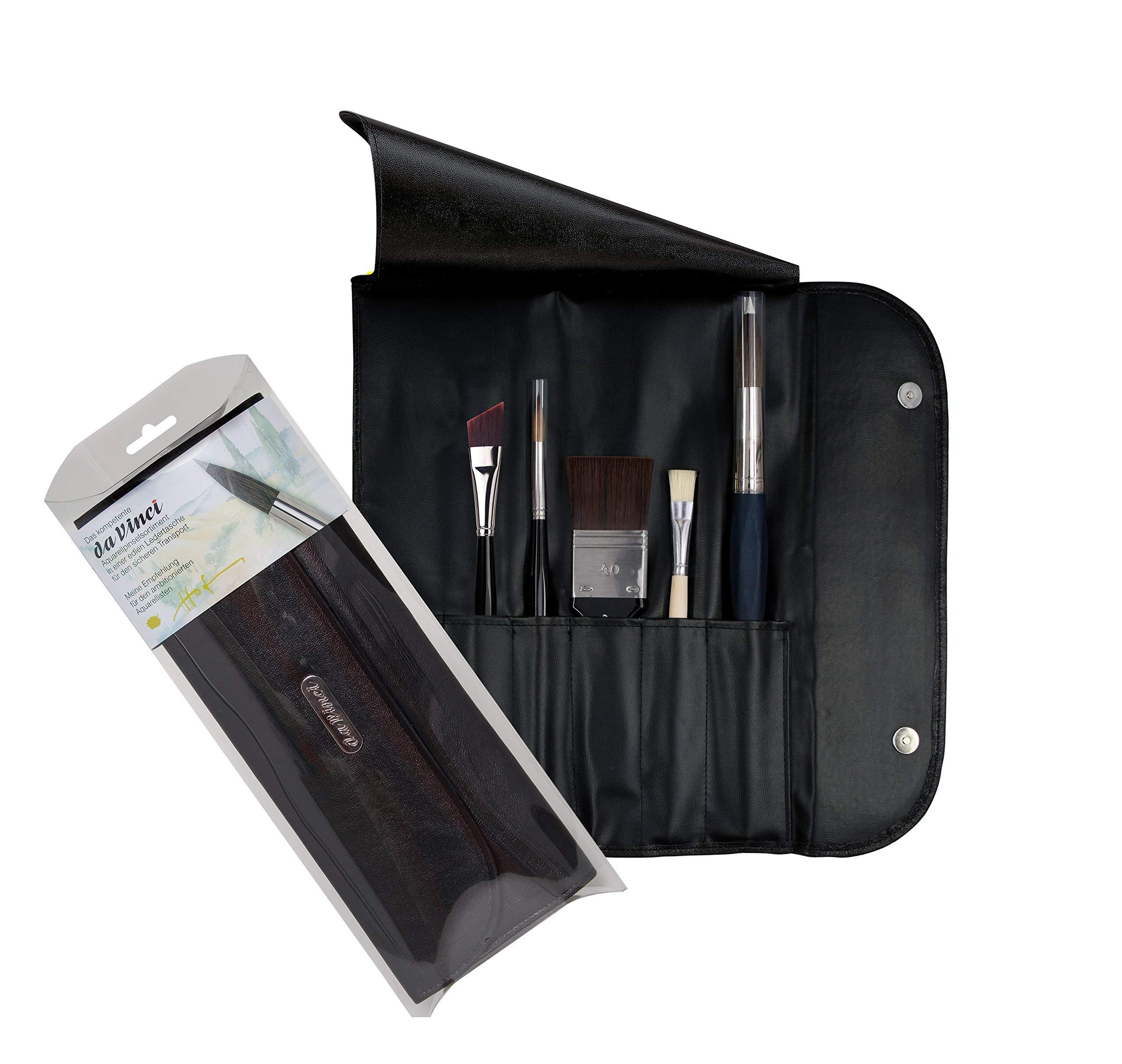 da Vinci Watercolor Series 5271 Ekkehardt Hofmann Paint Brush Set, Natural Hair and Synthetic with Leather Case, Multiple Sizes, 5 Brushes (Series 29, 35, 1383, 5040, 5535)